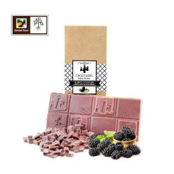 Tableta artesana de chocolate blanco con moras