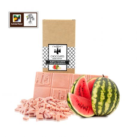 Tableta artesana de chocolate blanco con sandia